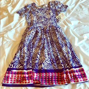 LuLaRoe Amelia - royal blue two-toned floral dress